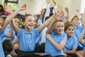 School children cheering