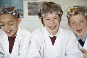 children studying STEM in school